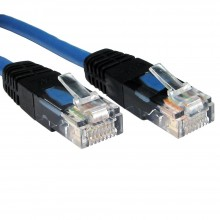 Network Cat 5E UTP Crossover Cable Blue With Black RJ45 Ends 5m