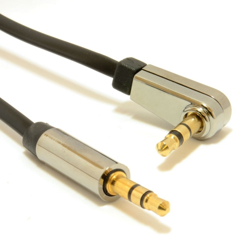 Right Angle Low Profile FLAT Metal 3.5mm Male Jack Cable AUX Audio Lead  0.5m