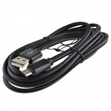 Leather USB 2.0 A To MICRO B Android Phone FAST CHARGE Cable 22AWG 2m