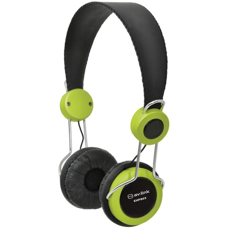 Childrens/Classroom Smaller Headphones with Mic 3.5mm Jack Green