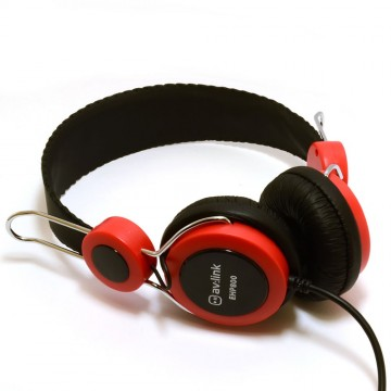 Childrens/Classroom Smaller Headphones with Mic 3.5mm Jack Red