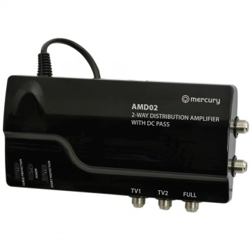 2 Way 4G Ready VHF UHF TV Distribution Powered Amplifier & DC By-Pass