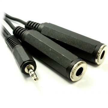 3.5mm Stereo Jack To Twin 6.35mm Stereo Jack Sockets Cable 50cm