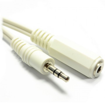 WHITE 3.5mm Stereo Jack Socket to 3.5mm Plug Headphone...