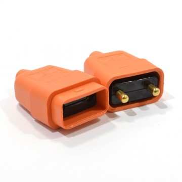 2 Pin Heavy Duty Rubber 10 Amp In Line Coupler Connector Orange