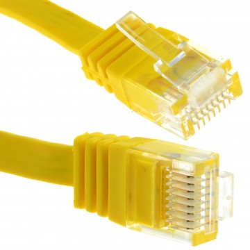 FLAT CAT6 Ethernet LAN Patch Cable Low Profile GIGABIT RJ45  6m YELLOW