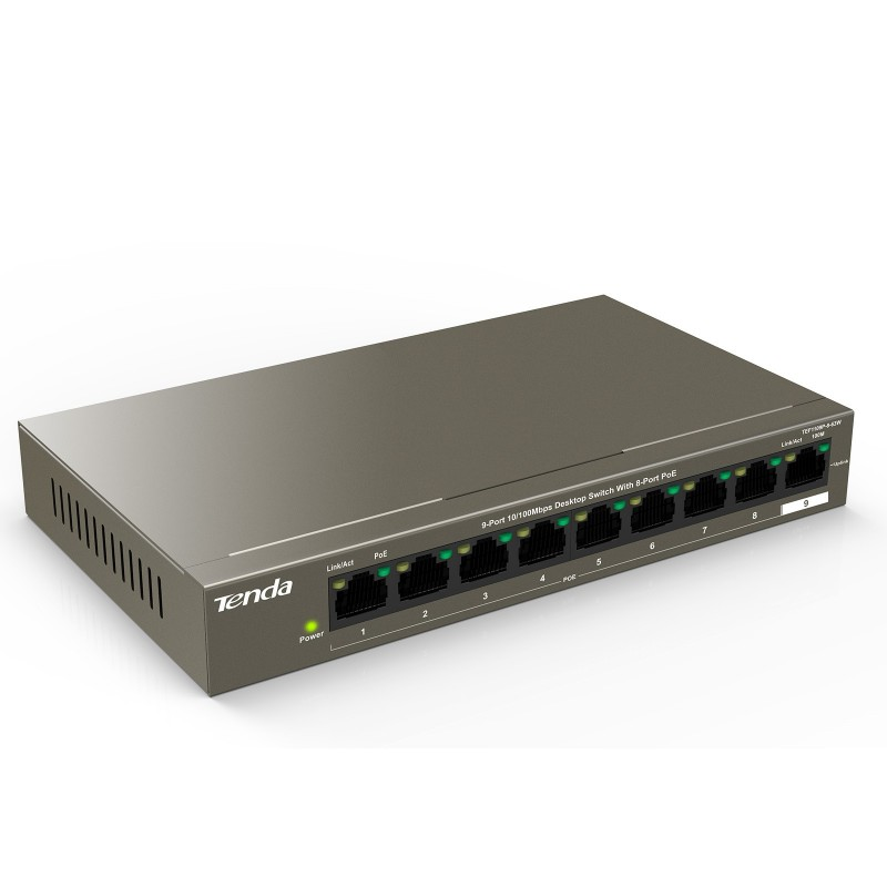 Tenda 9 Port Network Switch with 8 x POE RJ45 10/100Mbps for Internet or CCTV