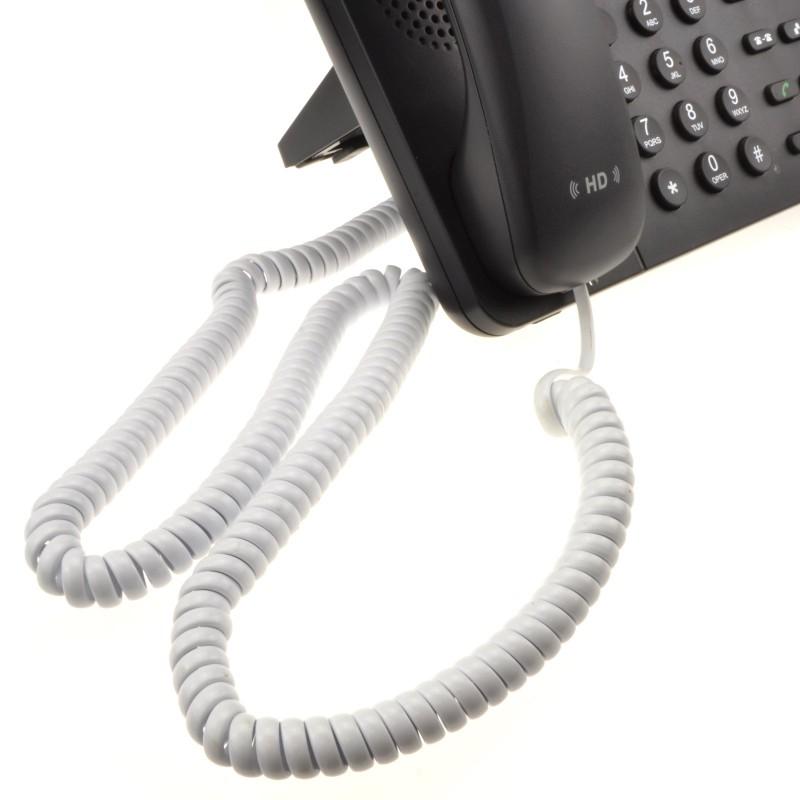 Telephone Handset Coiled RJ10 Plug to RJ10 Plug Cable Lead White 6.4m