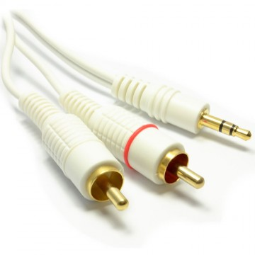 3.5mm Stereo Jack Plug to Twin Phono Plugs Cable White 5m