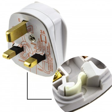 Rewireable Quick Fit 3 Pin UK Mains Plug Fitted with 3A Amp...