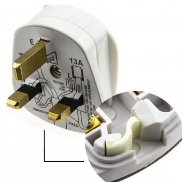 Rewireable Quick Fit 3 Pin UK Mains Plug Fitted with 13A Amp Fuse White