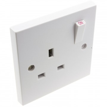 Electrical UK Domestic Mains Socket Single 1 Gang Outlet...
