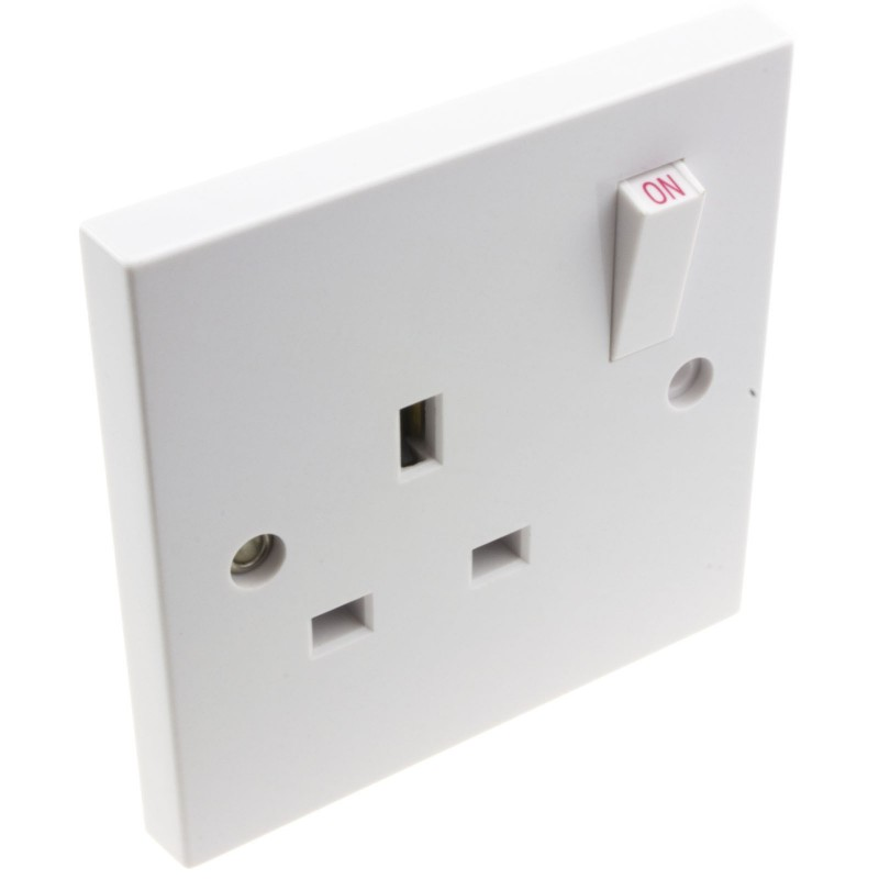 Electrical UK Domestic Mains Socket Single 1 Gang Outlet Single Pole 13A White