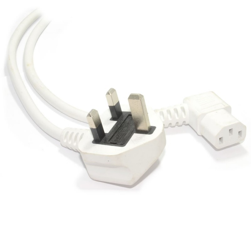Power Cord UK Plug to Right Angle IEC C13 Cable (kettle lead) 2m White