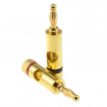 BRASS High Quality Gold 4mm Banana Plugs for Speaker Cable Red...