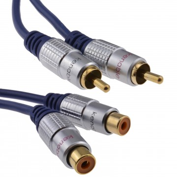 Pure OFC HQ 2 x RCA Phono Extension Plug to Socket Audio Cable Gold 3m