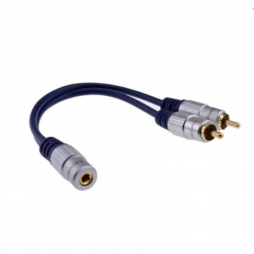 PURE Gold 3.5mm Stereo Jack Socket to 2 Phono RCA Plugs...