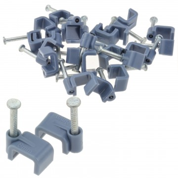 FLAT Grey  8mm Cable Clips for 1mm2 Twin & Earth Cables   [20...
