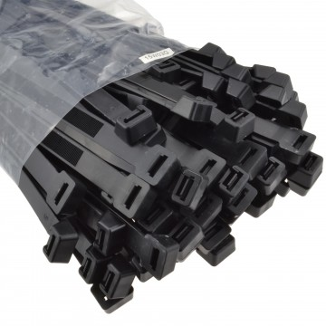 Black WIDE Cable Ties 300mm x 12.7mm UL Approved [100 Pack]