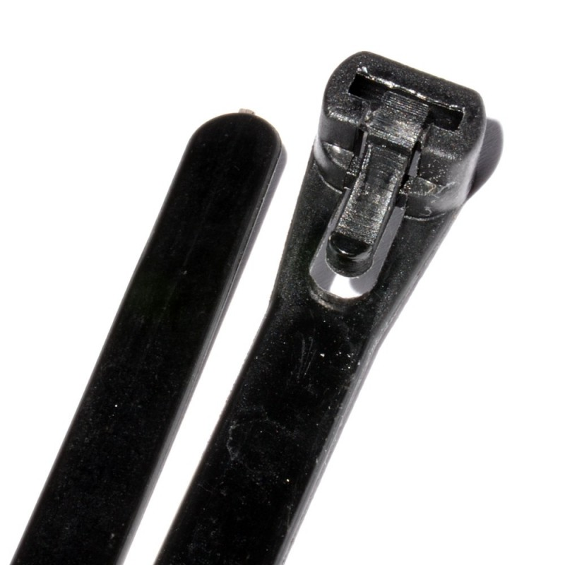 Black Reusable Cable Ties 200mm x 7mm 8 Inch [100 Pack]