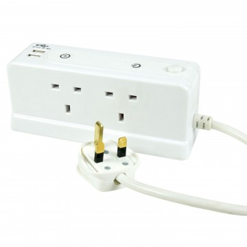 Desk/Wall Compact 4 Gang Way Extension Block with Dual USB...