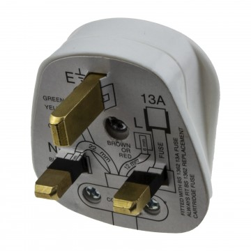 Rewireable 3 Pin UK Mains Plug Fitted with 13A Amp Fuse White