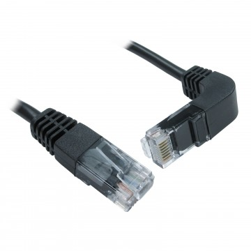 Cat5e Copper RJ45 Straight to Right Angle Plug DOWN Ethernet...