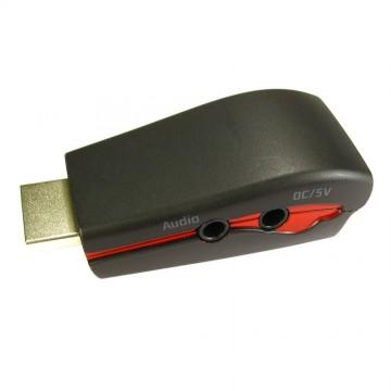 HDMI Male Plug to VGA 15 Pin Socket Converter USB Powered with Audio