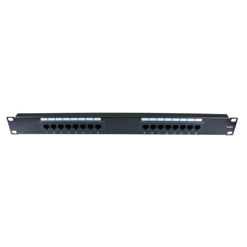 Cat6 Gigabit 19 Inch Rack Mountable Patch Panel 16 Port 1U [Economy]