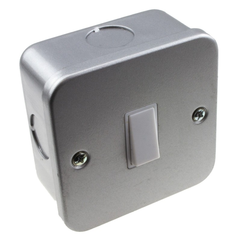 Single Gang Metal Clad Steel UK Single 2 Way Switch with Cable Entry Points