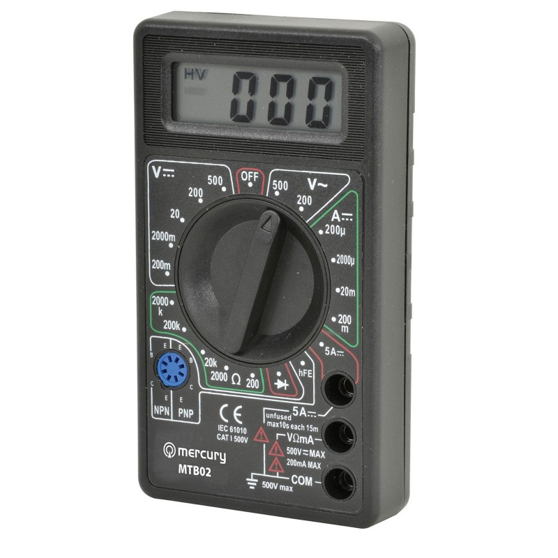 MTB02 Digital Multimeter Tester with Leads 19 Testing Ranges & 6 Functions