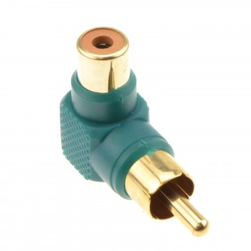 Right Angled RCA Phono Adapter Green Audio Plug to Socket Gold Plated