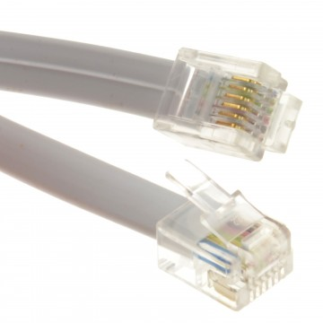 FLAT RJ12 6P6C to RJ12 6P6C Cable Plug to Plug (RJ11 with 6...