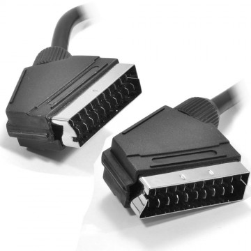 Black Round Scart Cable 21 Pins With Nickel Plated Ends 3m