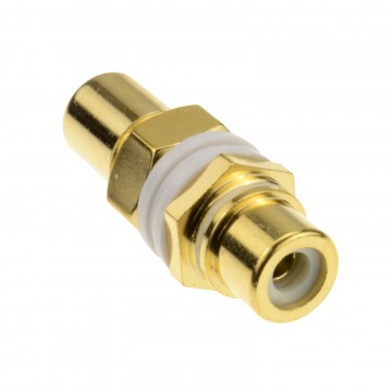 Phono RCA Panel Mount Socket Through Adapter White Audio Gold