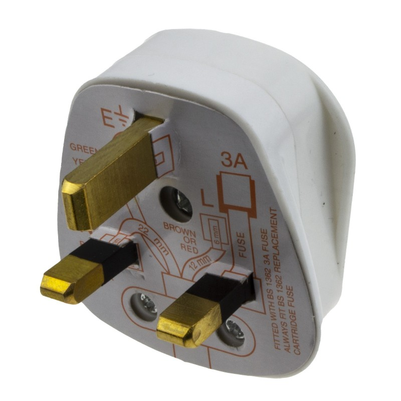 Rewireable 3 Pin UK Mains Plug Fitted with 3A Amp Fuse White
