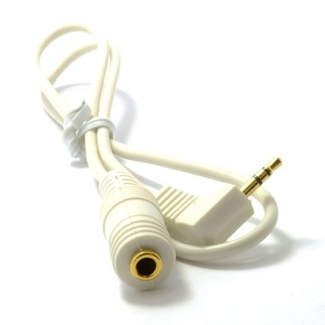 White 3.5mm Jack Socket to 2.5mm Right Angle Jack Plug 0.5m 50cm