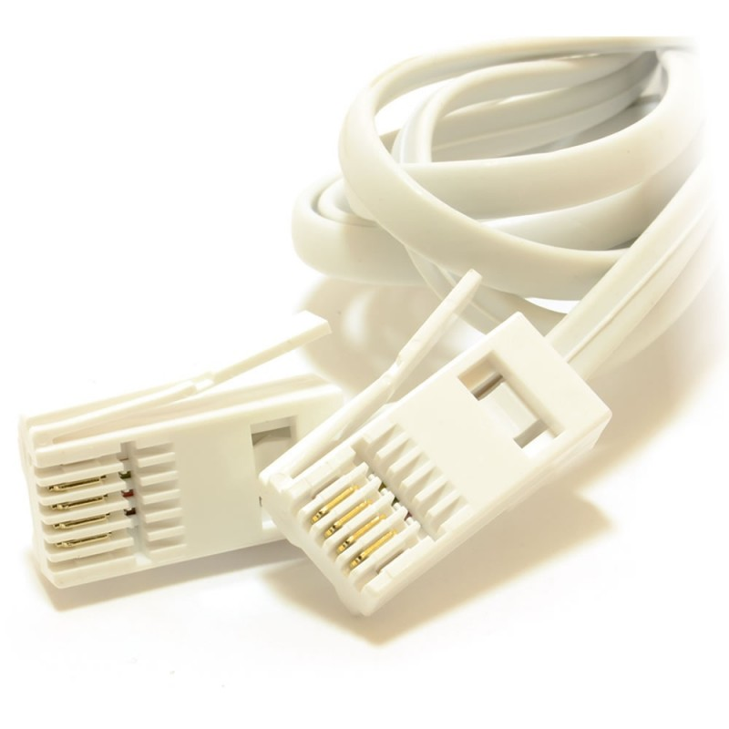 BT 4 Wire 431A Plug to 4 Wire Male Plug Telephone Cable Lead 1m White