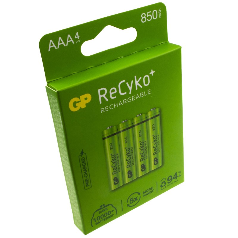 GP ReCyko AAA 850mA 1.2V RECHARGEABLE High Powered Long Lasting Batteries 4 Pack