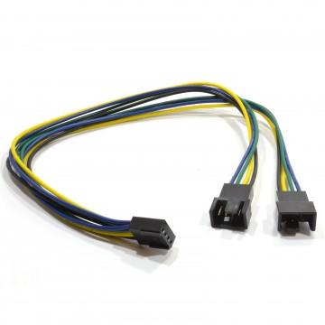PWM Fan Splitter Cable 4 Pin Plug to Twin Male 4 Pin Sockets 30cm