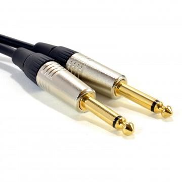 GOLD Mono 6.35mm Jack Plugs Guitar/Amp/Instrument LOW NOISE Cable Lead 3m
