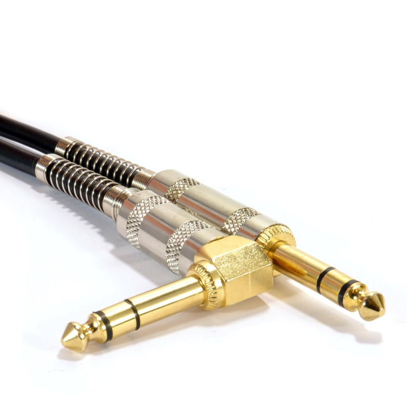 GOLD Right Angle Stereo/Balanced Jack 6.35mm Plugs Cable Lead  3m