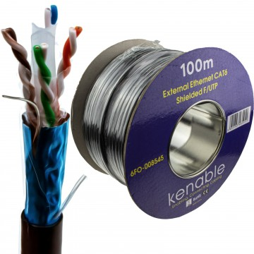 External SHIELDED CAT6 Outdoor Use COPPER Ethernet Cable FTP Reel 100m