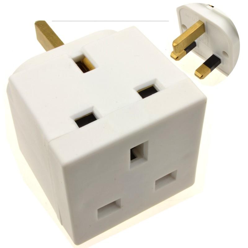 2 Way Block Socket Adapter Power Splitter for UK 13A Mains Plugs