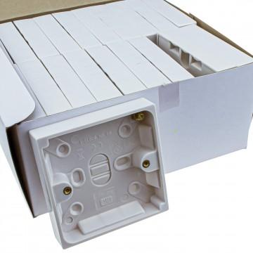 [20 Pack] Surface Mount Back Box Pattress Box 1 Gang 16mm