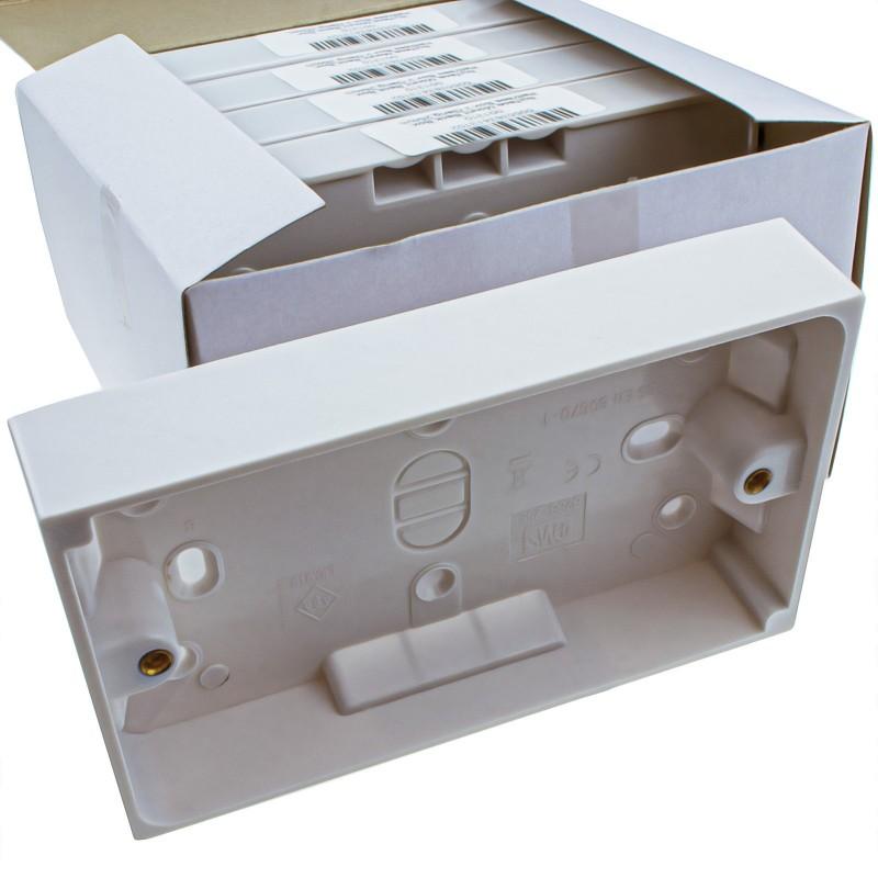 [5 Pack] Surface Mount Back Box Pattress Box 2 Gang 25mm