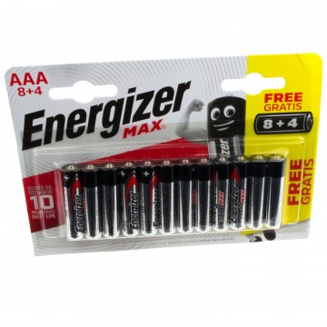Energizer MAX AAA LR03 10 Year Shelf Life 1.5V Batteries [12 Pack]