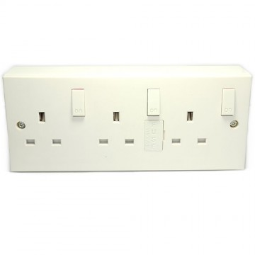 3 Gang Wall Sockets With Individual Switches And Back Box...