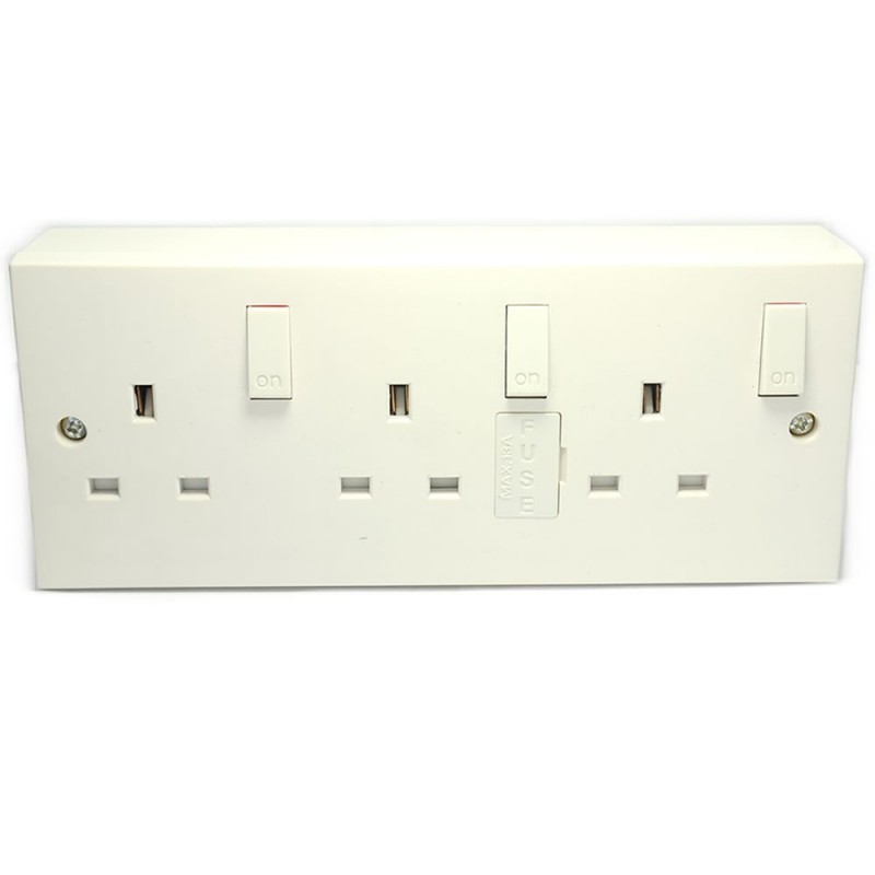 3 Gang Wall Sockets With Individual Switches And Back Box Converter