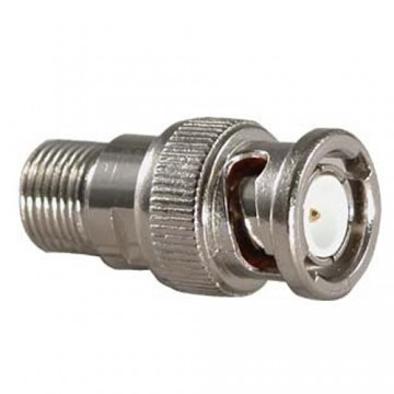 CCTV F Type Screw On Coaxial Cable Socket to BNC Male Plug adapter